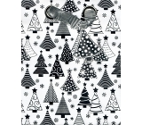 BSB Luxury Christmas paper gift bag medium white, silver trees 23 x 19 x 9 cm VDT 385-A5