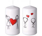 Emocio Couple in love candle white cylinder 60 x 120 mm 1 piece