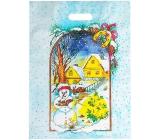 Plastic bag 46.5 x 35.5 cm Santa Claus snowman, houses, tree