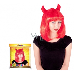 Devil red wig for adults
