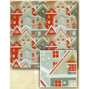 Nekupto Gift wrapping paper 70 x 200 cm Christmas Silver, red house