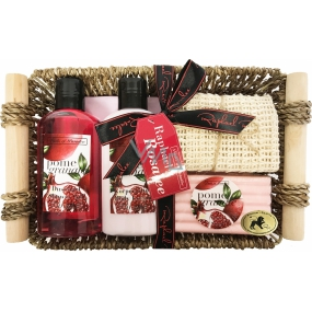 Raphael Rosalee Cosmetics Pomegranate shower gel 150 ml + body lotion 150 ml + solid soap 100 g + massage towel + basket, cosmetic set