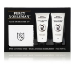 Percy Nobleman Facial & Beard Cleansing Gel 75 ml + Moisturizing Face & Beard Cream 75ml + Cotton Towel, Cosmetic Set
