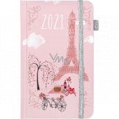 Albi Diary 2021 Pocket with rubber band Paris 15 x 9.5 x 1.3 cm