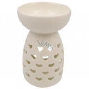 Aromalampa porcelain white with hearts 14 cm