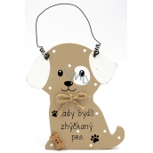 Nekupto Pets Wooden Sign Here pampered dog 12 x 8 cm lives here