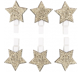 Wooden star on a peg with gold stones 3 cm 6 pieces