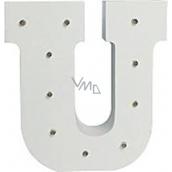 Nekupto Wooden LED letter U decoration 16 cm