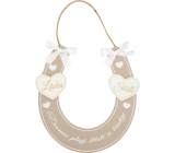 Horseshoe wooden beige for hanging A home full of happiness and love 14 x 14 cm