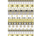 Ditipo Gift wrapping paper 70 x 200 cm Christmas gold-silver stripes