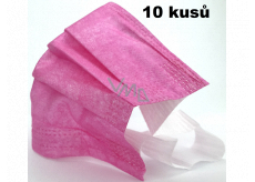 3-layer disposable protective non-woven drape, low breathing resistance 10 pieces light pink with wide rubber bands