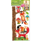 Room Decor Wall stickers tree with forest animals, fox and owl 70 x 33 cm 1 arch