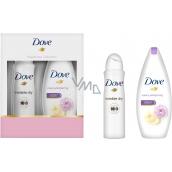 Dove Purely Pampering Smetana a pivoňka sprchový gel pro ženy 250 ml + Invisible Dry antiperspirant ve spreji 150 ml, kosmetická sada