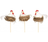 White hen in the nest recess 6 cm + skewers 1 piece