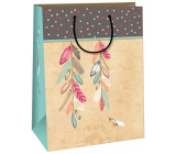 Ditipo Gift kraft bag 26.4 x 32.4 x 13.7 cm beige, colored feathers