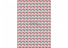 Ditipo Gift wrapping paper 70 x 100 cm White red, black and gray bow ties 2 sheets