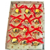 Gold jingle bells in box 2 cm, 12 pieces