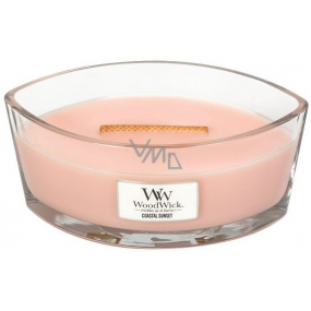 WoodWick Coastal Sunset - Sunset on the scented candle with wooden wide wick and lid boat 453 g