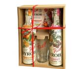 Kitl Syrob Bio Raspberry with pulp syrup 500 ml + Orange with pulp syrup 500 ml + glass 200 ml, gift box