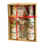 Kitl Syrob Bio Raspberry with pulp syrup 500 ml + Orange with pulp syrup 500 ml + glass 200 ml, gift box