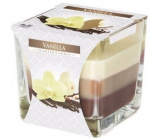 Bispol Vanilla - Vanilla tricolor scented candle glass, burning time 32 hours 170 g