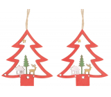 Tree wooden hanging red 8 cm 2 pieces