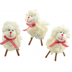 Sheep made of wool with a red bow 10 cm 1 piece