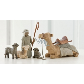 Willow Tree - Shepherd and Nativity animals, camel - Surround new life with love and warmth, shepherd height including cane 18.5 cm, shepherd height without cane 14 cm