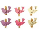 Birds with a wooden peg 4 cm, 6 pieces