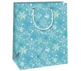 Ditipo Gift paper bag 18 x 10 x 22.7 cm light blue snowflakes C