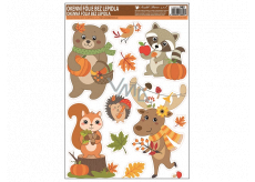 Room Decor Window foil with glitter autumn animals 42 x 30 cm