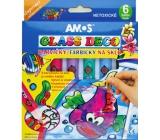 Amos Paints for glass peeling set of 5 tubes of colors 10 ml + 1 contour, 4 stencils + 2 foils for painting