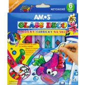 Amos Paints for glass peeling set of 5 tubes of colors 10 ml + 1 contour, 4 stencils + 2 foils for painting