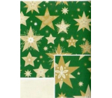 Nekupto Gift wrapping paper 70 x 200 cm Christmas Green with gold stars