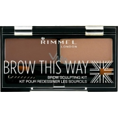 Rimmel London Brow This Way paletka na obočí 003 Dark Brown 1,1 g