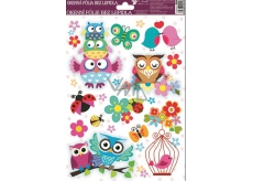 Room Decor Window film without glue bird in a cage with owls 30 x 20 cm