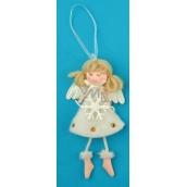 Anděl plyšový smetanový s nožkama na zavěšení vločka 14 cm