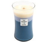 WoodWick Trilogy Beachfront Cottage- Beachfront Scented candle with wooden knot and glass top large 609.5g