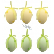 Plastic eggs for hanging 5 cm, with flower, 6 pcs in bag