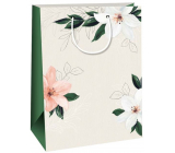 Ditipo Gift kraft bag 27 x 12 x 37 cm beige, white lilies