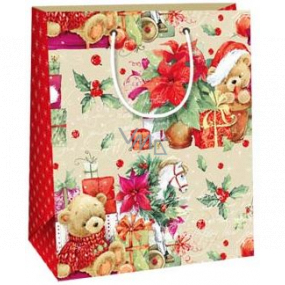 Ditipo Gift paper bag 18 x 10 x 22.7 cm teddy bears gifts Poinsettia