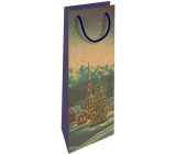Nekupto Gift kraft bottle bag 15 x 40 cm Christmas winter landscape 613 WHLH