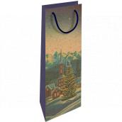 Nekupto Gift kraft bottle bag 15 x 40 cm Christmas winter landscape 613 WHLH