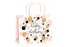 Anděl Gift paper bag 23 x 18 x 10 cm birthday gold embossing wheels size M