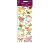 Room Decor Stickers butterflies and flowers with yellow glitter 34.5 x 12.5 cm