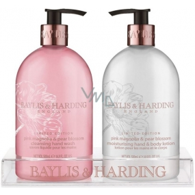 Baylis & Harding Pink magnolia and pear blossom liquid soap 500 ml + hand lotion 500 ml, cosmetic set