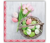 Aha Easter paper napkins 3 ply 33 x 33 cm 20 easter eggs, pink tulips