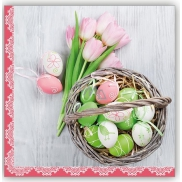PAP.UBR.velikon.3vr.20ks basket kraslice pink.tulipány 0505