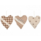 Fabric heart for hanging 10 cm 1 piece