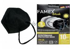 Famex Respirator oral protective 5-layer FFP2 face mask black 10 pieces